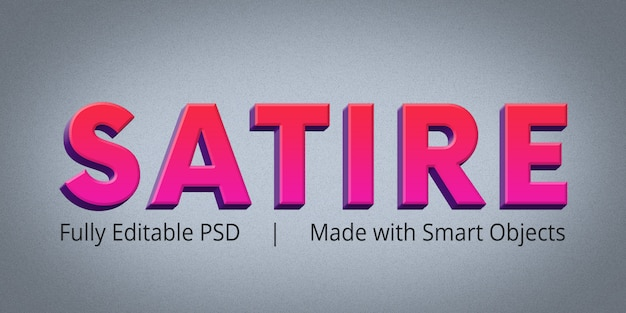 Satire Text Style Effect Psd File Premium Download