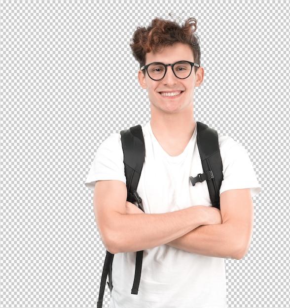 Удовлетворенный молодой студент позирует Premium Psd