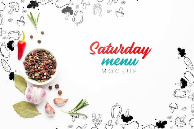 Saturday menu mock-up with pepper and spices Free Psd