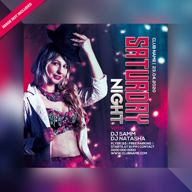 Saturday night party flyer or poster template Premium Psd