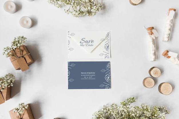 Save the date card mockup Free Psd
