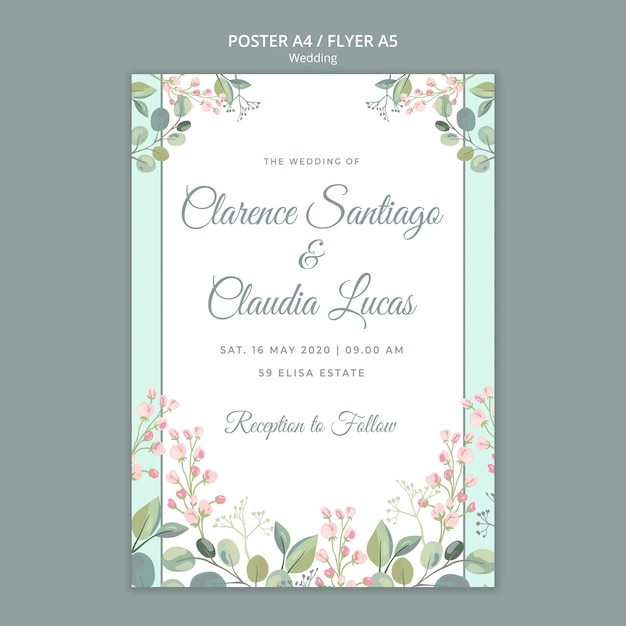 Save the date floral wedding flyer template Free Psd