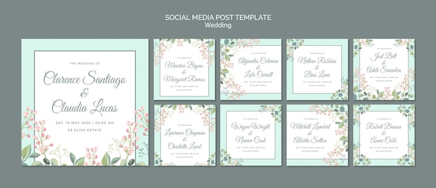 Save the date floral wedding social media post Free Psd