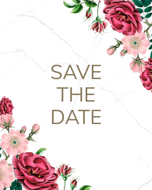 Save the date mockup with roses Premium Psd