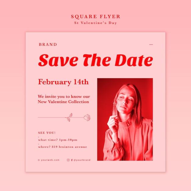 Salva il volantino quadrato della data di san valentino Psd Gratuite