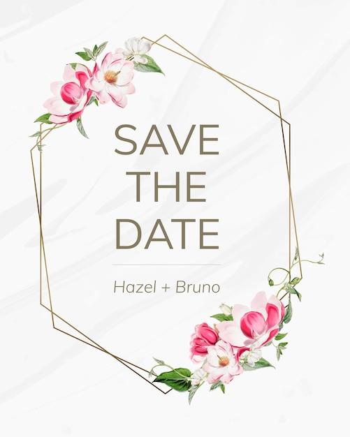 Save the date wedding invitation mockup card Free Psd