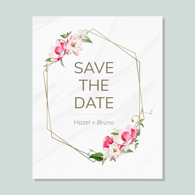 Save the date wedding invitation mockup card PSD file