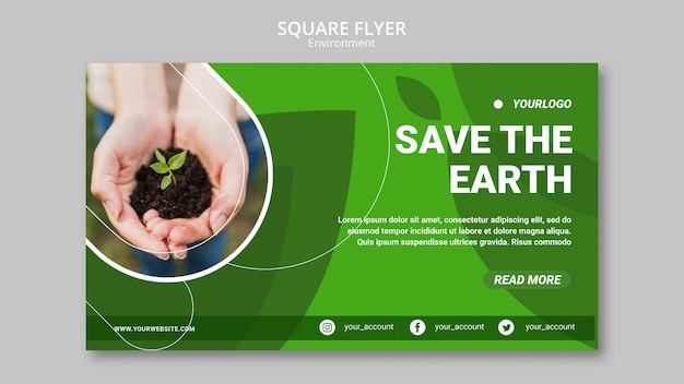 Save the earth environment with hands holding plant in dirt Free Psd