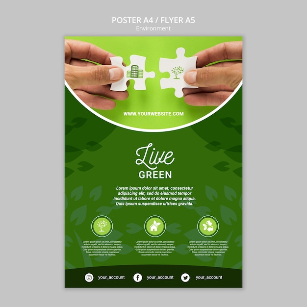 Save the earth flyer template Free Psd