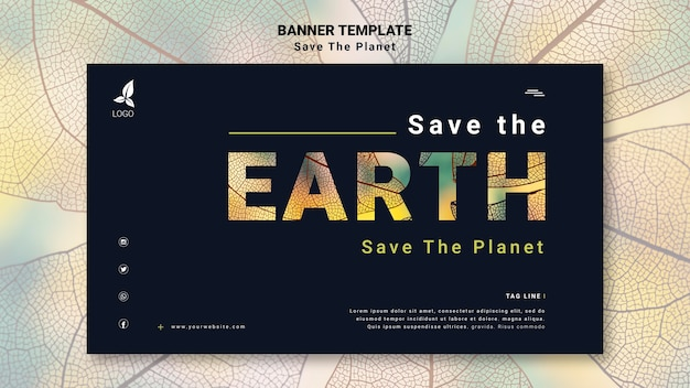 Save the earth horizontal banner template Free Psd