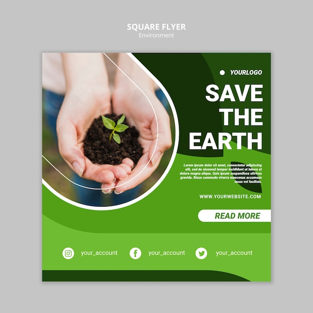 Save the earth square flyer template Free Psd