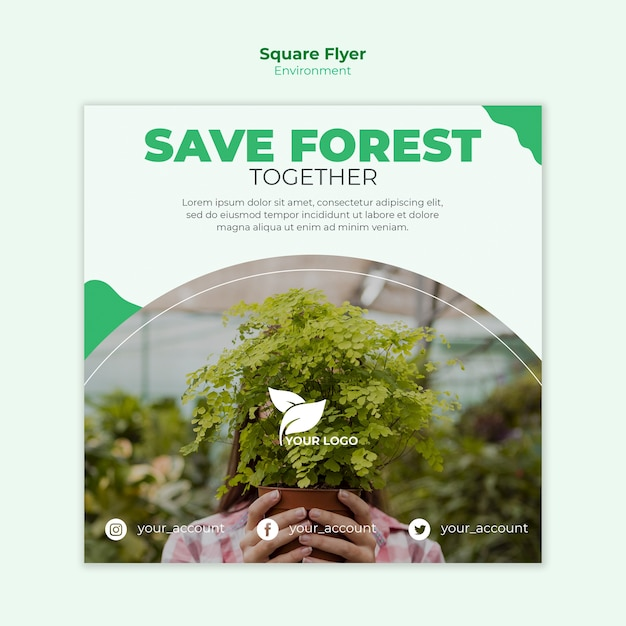 Save the forest square flyer template Free Psd
