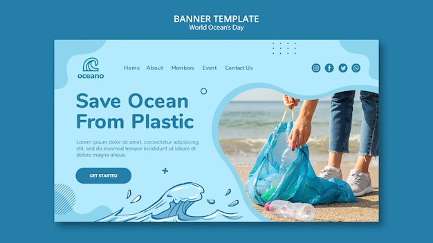Save ocean from plastic banner template Free Psd