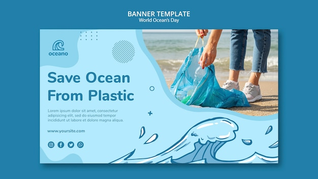 Save the ocean from pollution banner template Free Psd