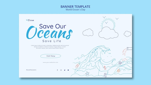 Save the oceans banner template Free Psd