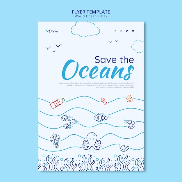 Save the oceans flyer template Free Psd