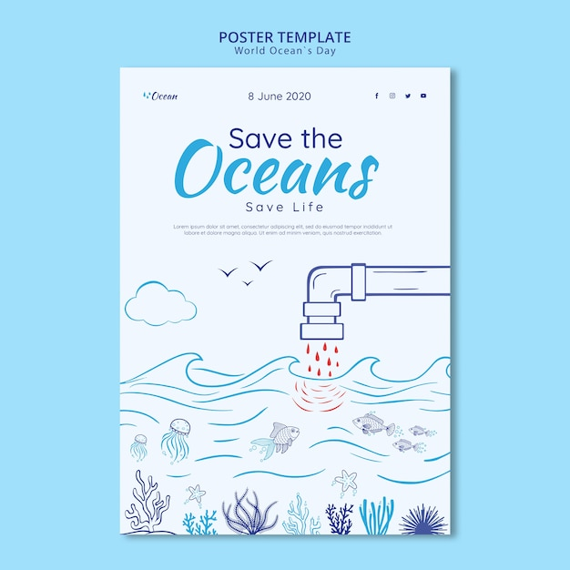 Save the oceans poster template Free Psd