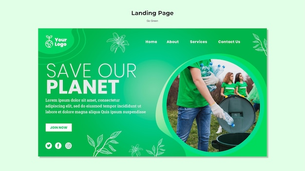 Save our planet landing page template Free Psd