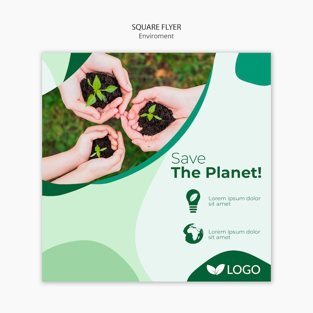 Save The Planet Flyer Template With Plants And Hands