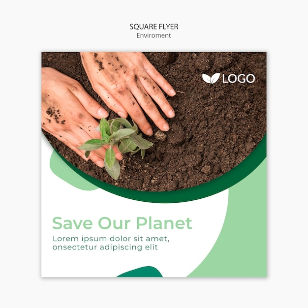 Save The Planet Flyer Template With Soil And Hands PSD