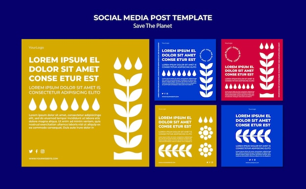 Save the planet social media post template Free Psd