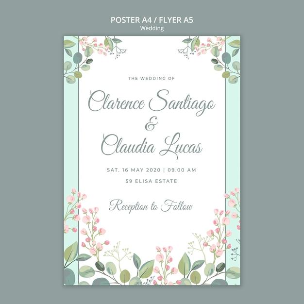 전단지 템플릿-날짜 꽃 결혼식 저장 무료 PSD 파일