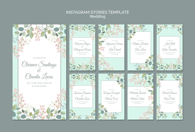 날짜 꽃 결혼식 인스 타 그램 이야기를 저장 무료 PSD 파일