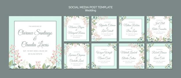 날짜 꽃 결혼식 소셜 미디어 게시물 저장 무료 PSD 파일