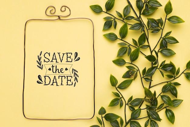 Сохрани дату макета минималистской рамки и листьев Бесплатные Psd