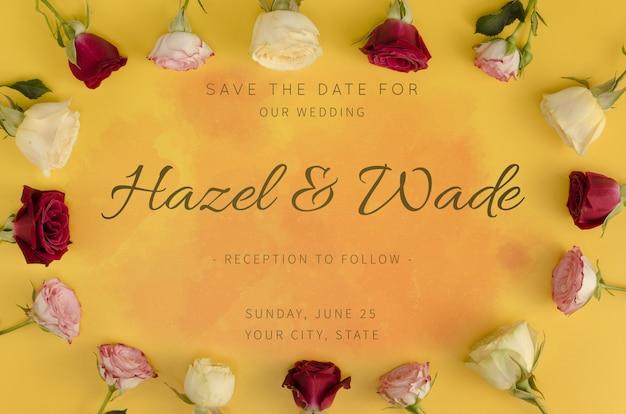 Сохрани дату свадьбы и рамки из роз Бесплатные Psd
