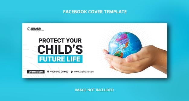 Сохранить природу facebook шаблон баннера обложки Premium Psd