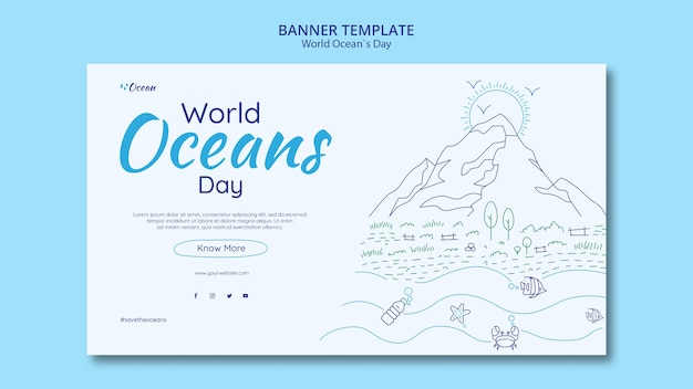 Save the underwater world banner template Free Psd