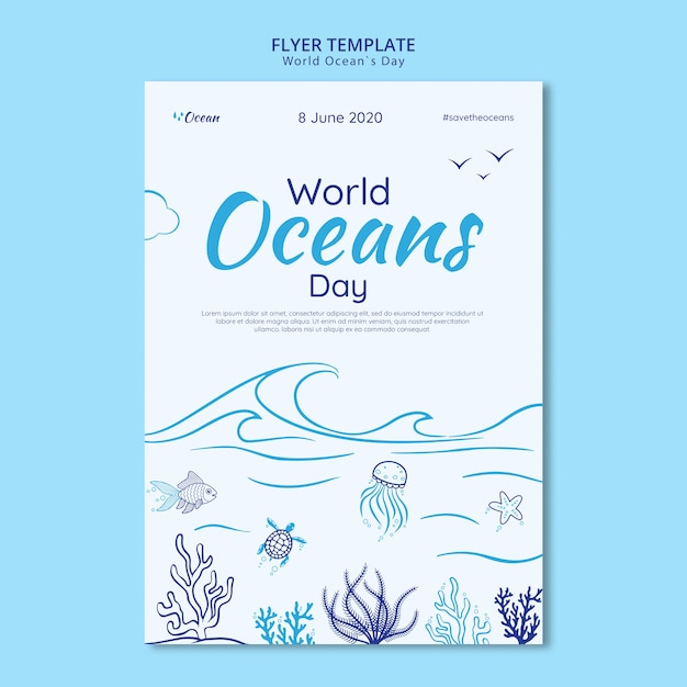 Save the underwater world flyer template Free Psd
