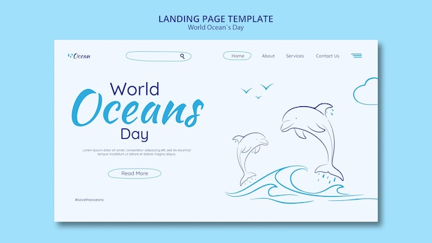 Save the underwater world landing page Free Psd