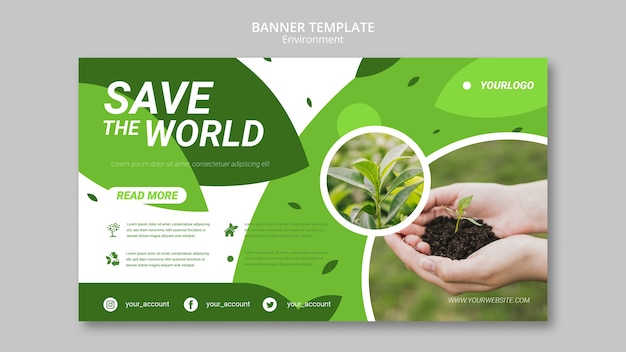 Save the world banner template Free Psd