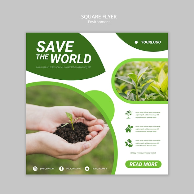 Save The World Square Flyer Template PSD File