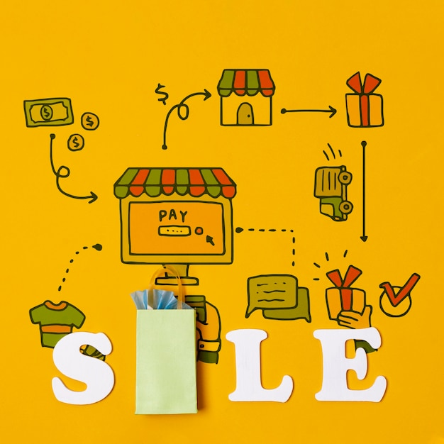 Saving money and buying products on sales Free Psd