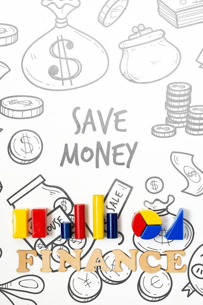 Saving money finance domain with charts Free Psd