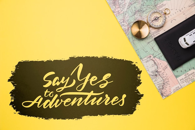 Say yes to adventures, lettering for traveling Free Psd