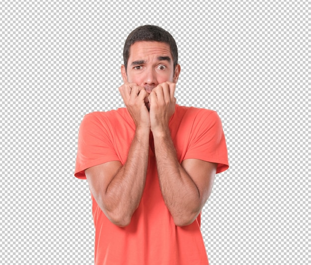 Scared young man biting his nails PSD file | Premium Download
