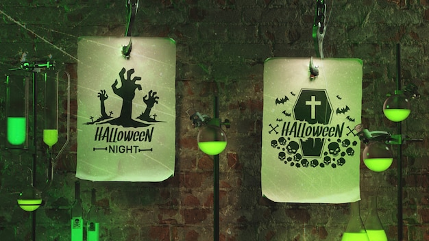 Scary arrangement with green neon light Free Psd