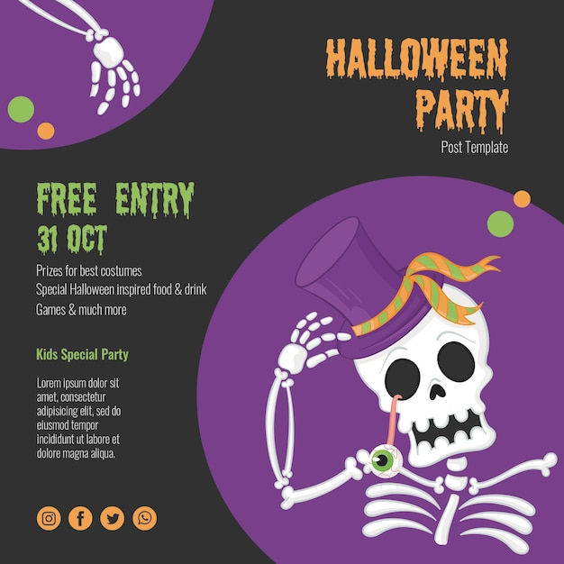 Scary halloween event with skeleton Free Psd