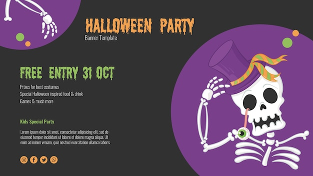 Scary halloween flyer with skeleton Free Psd