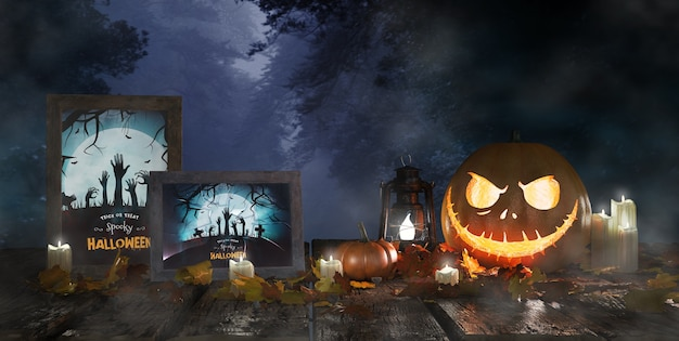 Scary pumpkin next to framed horror movie posters Free Psd