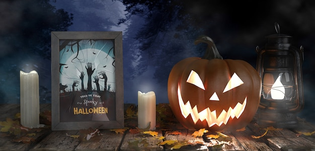 Scary pumpkin with candles and horror movie poster Free Psd