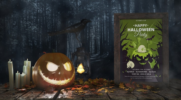 Scary pumpkin with horror movie poster Free Psd