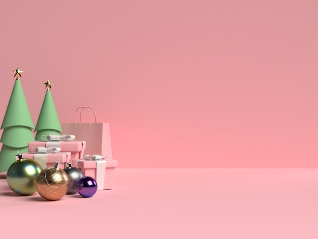 Scene of christmas podium with gift box and ball on pink background in 3d rendering Premium Psd