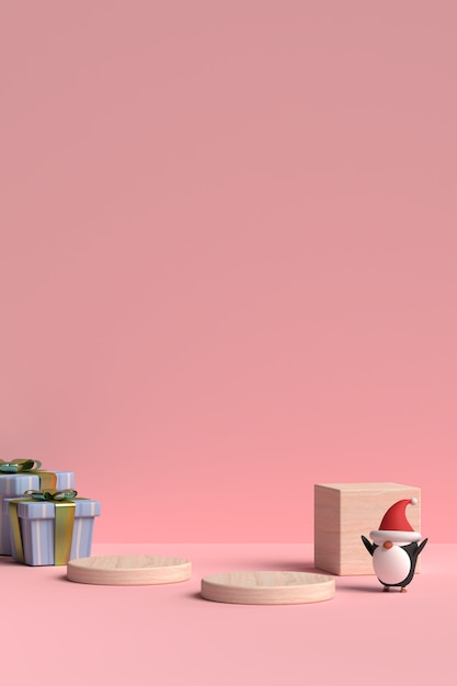 Scene of christmas podium with gift box and penguin in 3d rendering Premium Psd