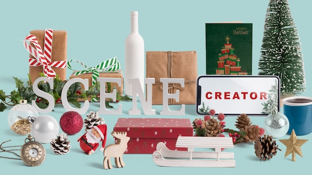 Scene creator mockup with christmas concept Free Psd