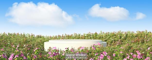 花畑の白いプラットフォームのシーンクリエーター Premium Psd